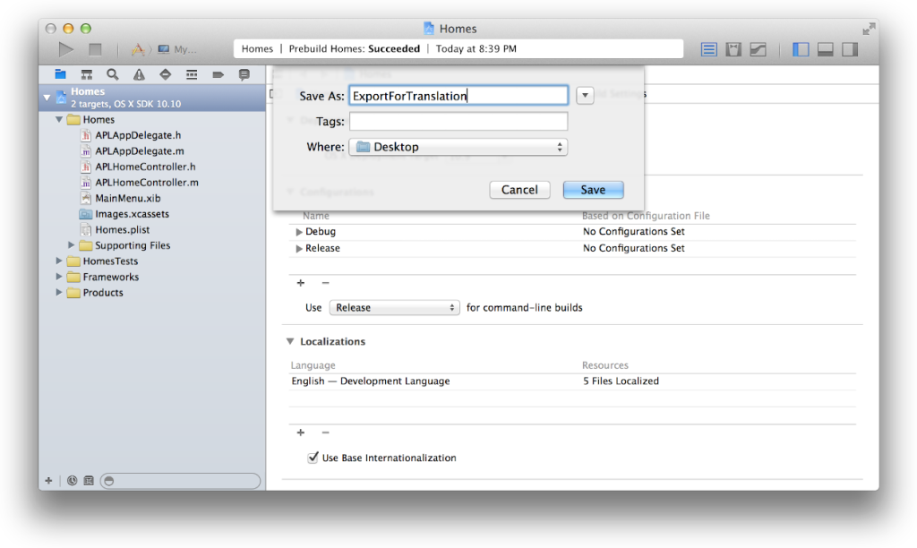 The localization editor in Xcode 6 makes it much simpler to export your strings.