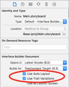 Turning on Auto Layout in Xcode