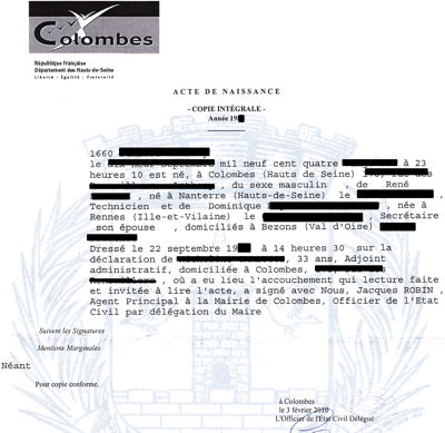 Birth certificate translation certified notarized in spanish french birth certificate yadclub Gallery
