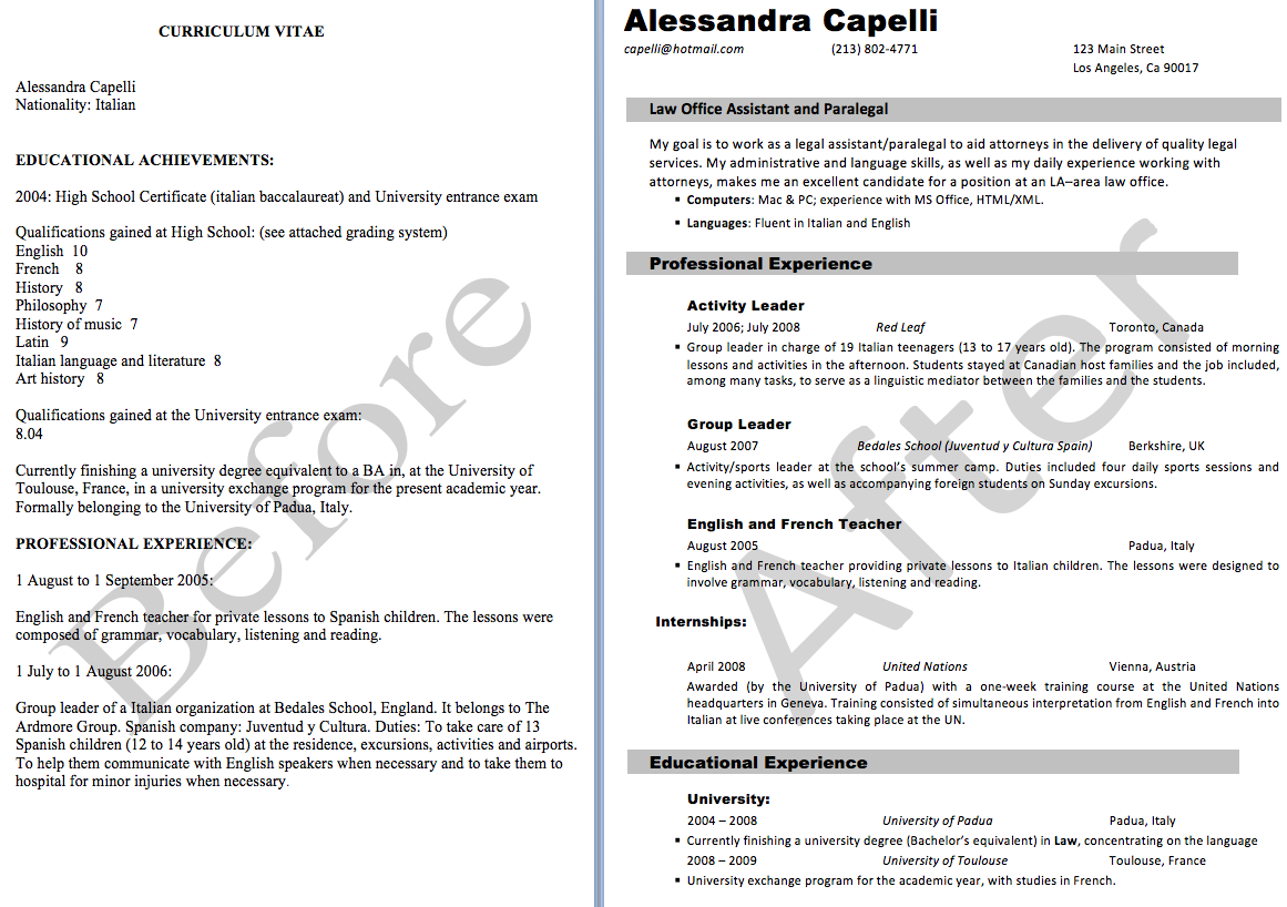 Resume Editing Example By Benjamin Zadik  Resume Editing