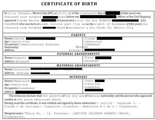Spanish Birth Certificate